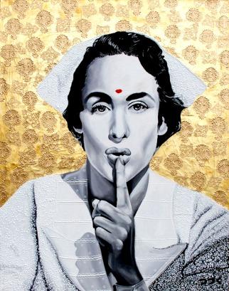 Sshh!!, Oleo, pan de bronce y brocateado sobre lienzo 80cm x 60cm - 2012.