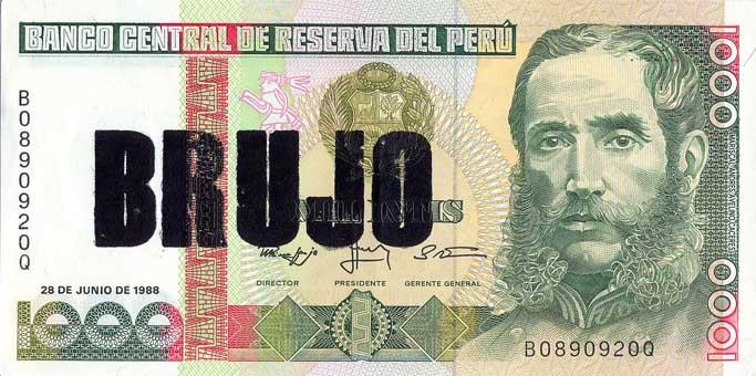Brujo - Serie Poco o Nada, serigrafia sobre billetes. 2012