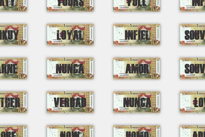 TEN - detalle, billetes serigrafiados.
