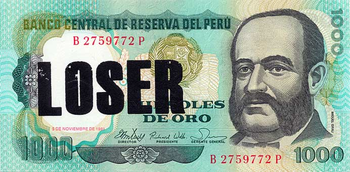 Loser - Serie Poco o Nada, serigrafia sobre billetes. 2012