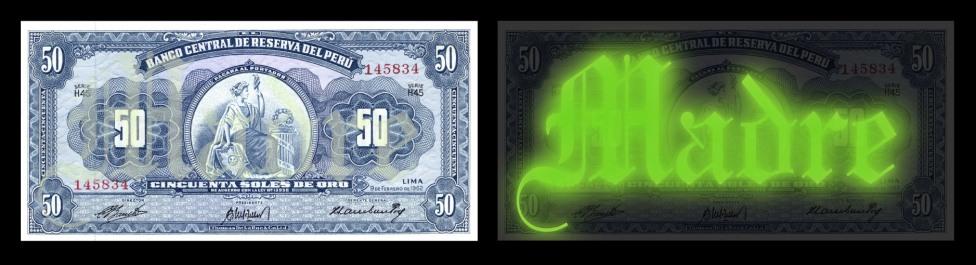 S/T - Serie Madre Mía, serigrafia fluorescente sobre billetes. 2012