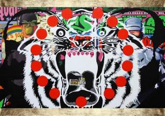 Tigre Woods, Mixta sobre lienzo 100cm x 70cm 2012